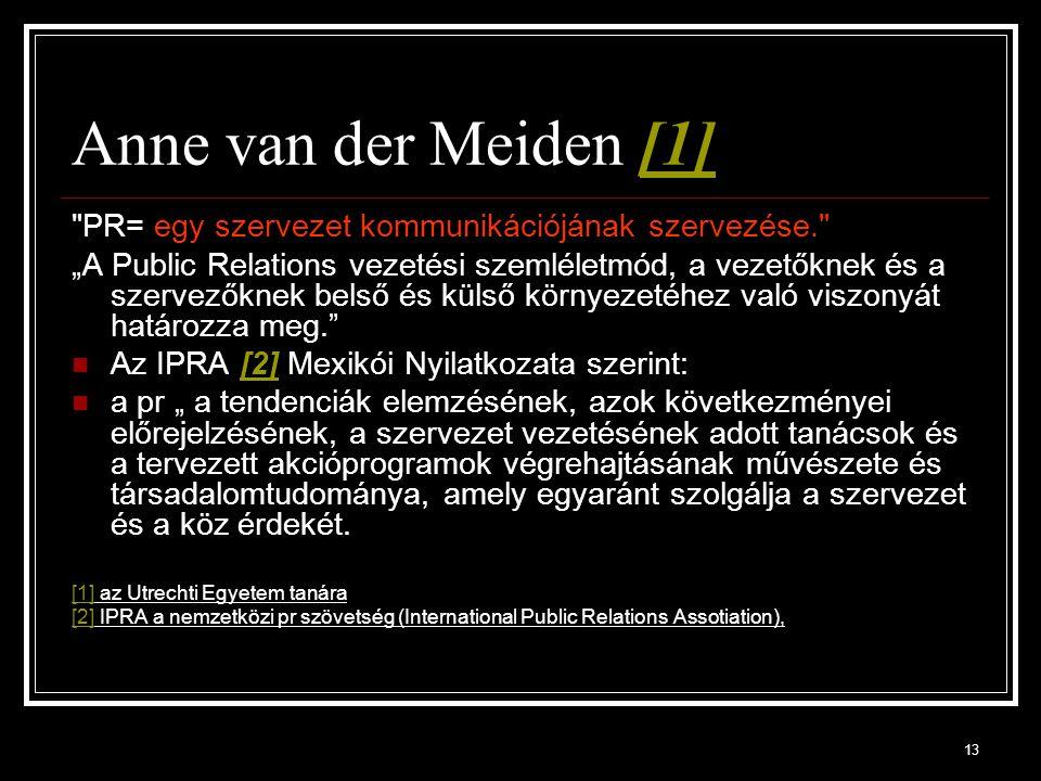 Anne van der Meiden [1] PR= egy szervezet kommunikációjának szervezése.